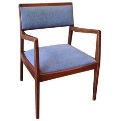"Jens Risom Walnut Upholstered ""Playboy"" Armchair"