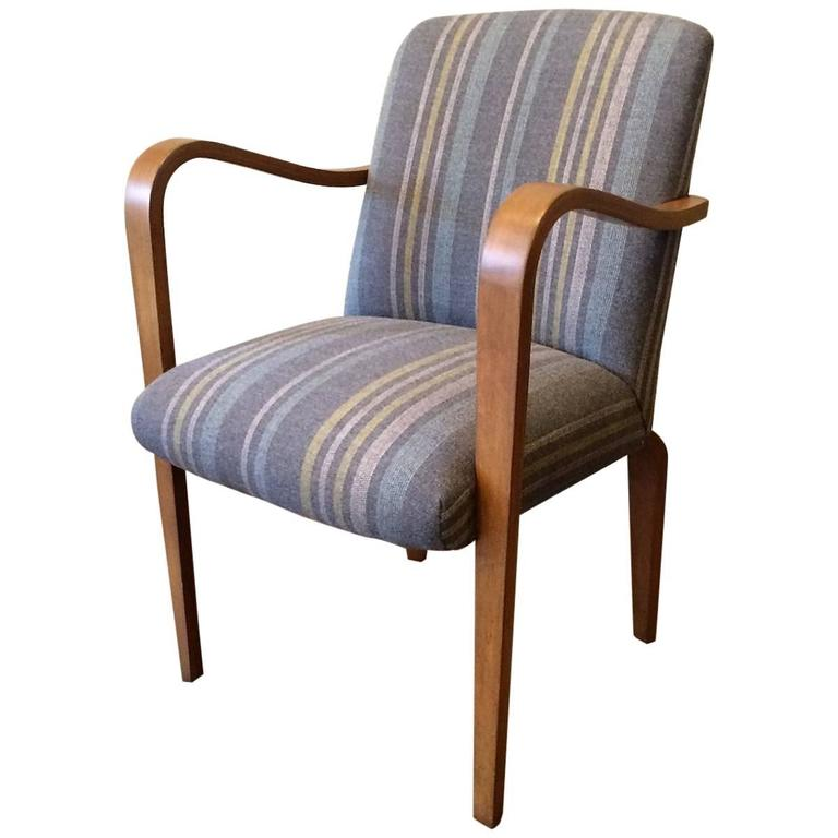 Upholstered Bentwood Maple Armchair by Thonet