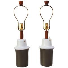 Pair of Dual-Tone Martz for Marshall Studios Ceramic Table Lamps