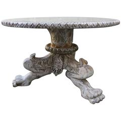 Italian Panted Dining Table with Antiqued Mirror Top