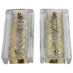 Pair of Orrefors Crystal Sconces by Carl Fagerlund, Swedish, 1960s