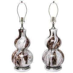Pair of Murano Lamps, Polished Chrome, Brownish, Clear and White