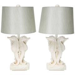 Pair of Hollywood Regency Style, Sea Horse Motif Table Lamps in White Plaster