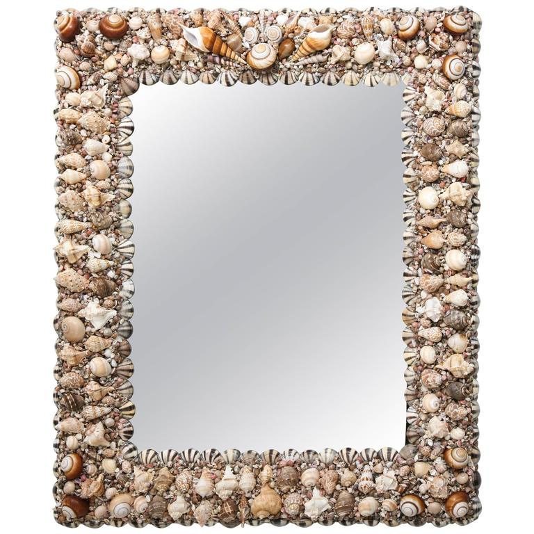 Bespoke, Tony Duquette Style, Hollywood-Regency, Sea Shell Encrusted Wall Mirror
