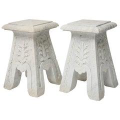Pair of Carrara Marble Garden Stools