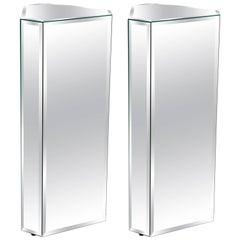 Pair of Triangular Shaped Mirror Pedestals with Beveled Edges