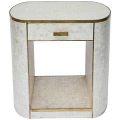 Single Drawer Capiz Shell and Antiqued-Brass Cabinet by Platt Collections