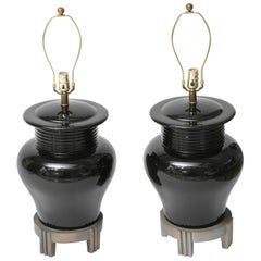 Pair of Art Deco Style, Large-Scale, Black Ceramic Vase Form, Table Lamps