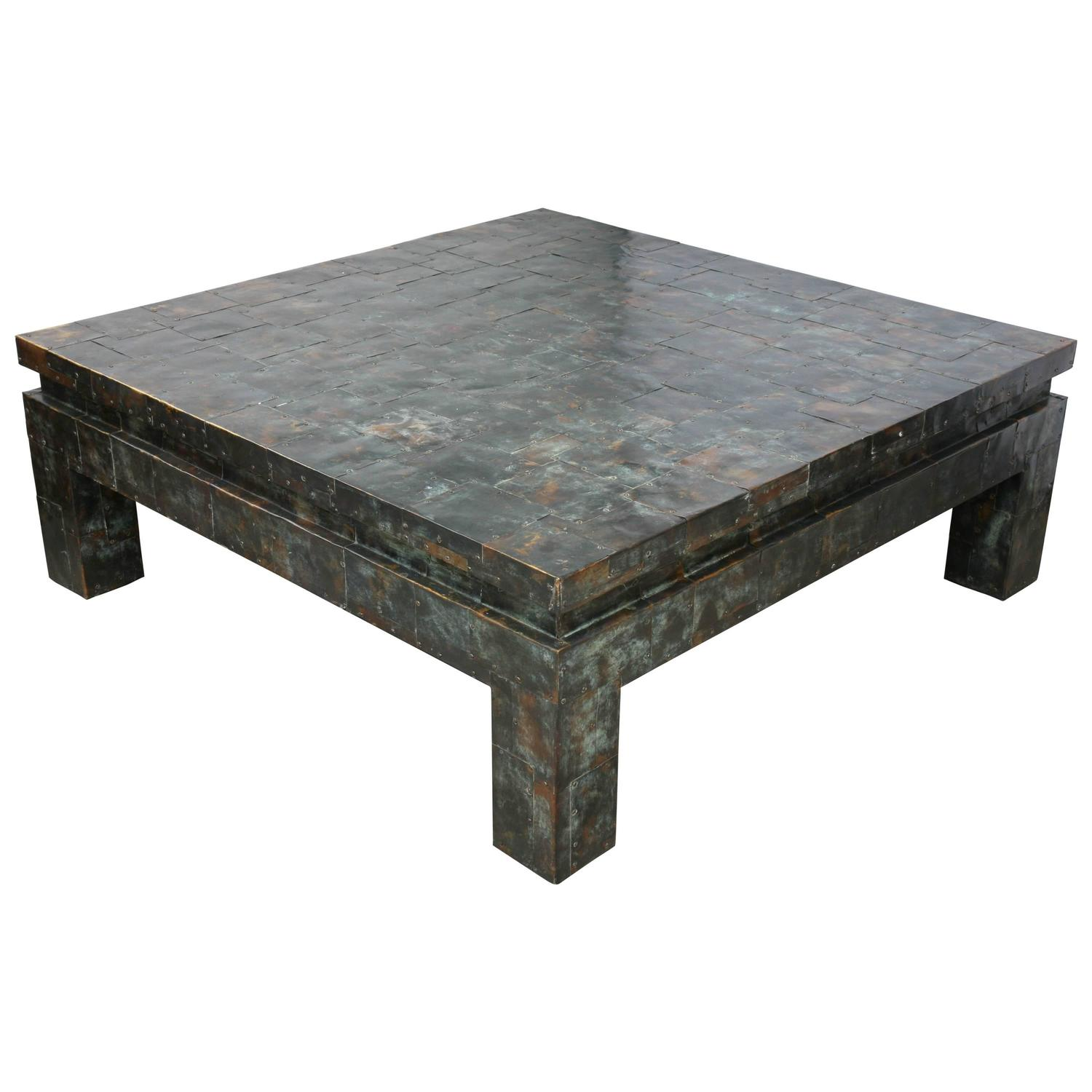 Habitat Herrmann Square Glass Coffee Table: Large-Scale, Paul Evans Style, Anodized-Brass, Brutalist
