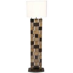 R & Y Augousti Floor Lamp, Shagreen, Alligator, Lizard and Mahogany Wood