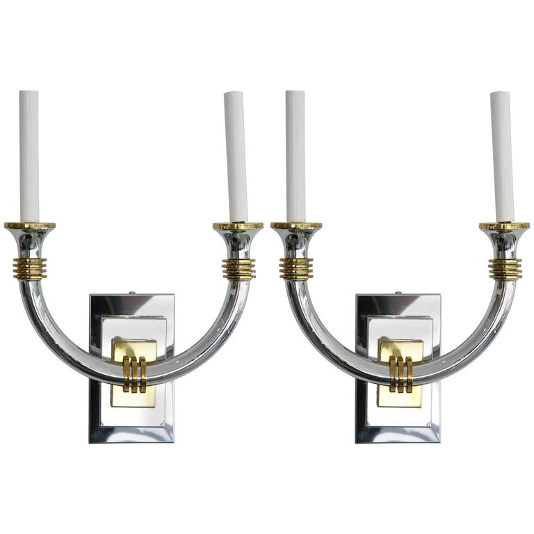 Pair Art Deco, K. Springer, J. Adnet Style Wall Sconces, Polished Brass & Chrome