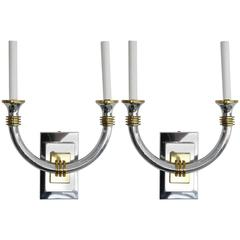 Pair Art Deco, K. Springer, J. Adnet Style Wall Sconces, Polished Brass & Chrome