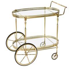 Hollywood-Regency, Maison Jansen Style, Polished Brass and Glass Bar Cart