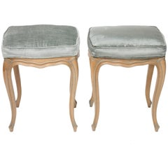 Pair of  Louis XV Style Beechwood Benches/Stools in Blue-Grey Silk Velvet