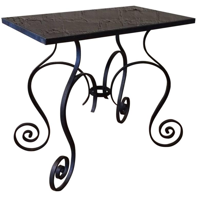 Hollywood Regency Scrolled Wrought Iron and Black Vitrolite Side Table