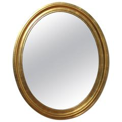 Gold Gilt Wooden Oval Wall Mirror