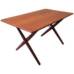 Teak and Brass Occasional Table by Hans Wegner for Andreas Tuck