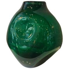 Very Large Dimpled Emerald Glass Vessel by Winslow Anderson for Blenko