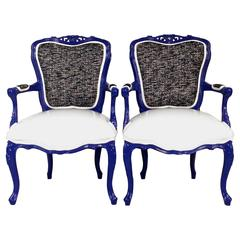 Pair of Vintage French Style Blue Lacquer Armchairs