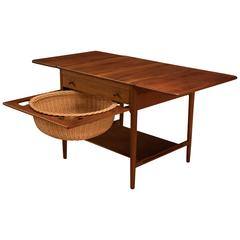 Danish Hans Wegner Teak Sewing Table