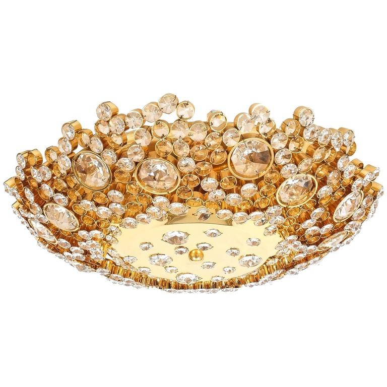 palwa crystal glass encrusted gold plated brass flush mount ceiling