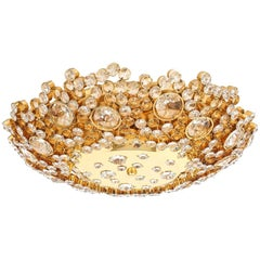 Palwa Crystal Glass Encrusted Gold Plated Brass Flush Mount Ceiling Light, 1960