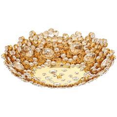 Beautiful Crystal Glass Encrusted, Brass Flush Mount by Palwa