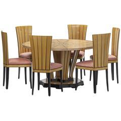Dining Table, Eliel Saarinen Design, 1929 for Saarinen House, Wooden Inlays