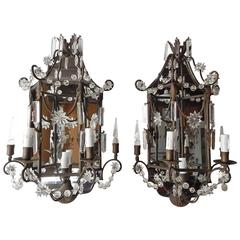 1900 French Mirror Sconces Crystal Spear and Stars