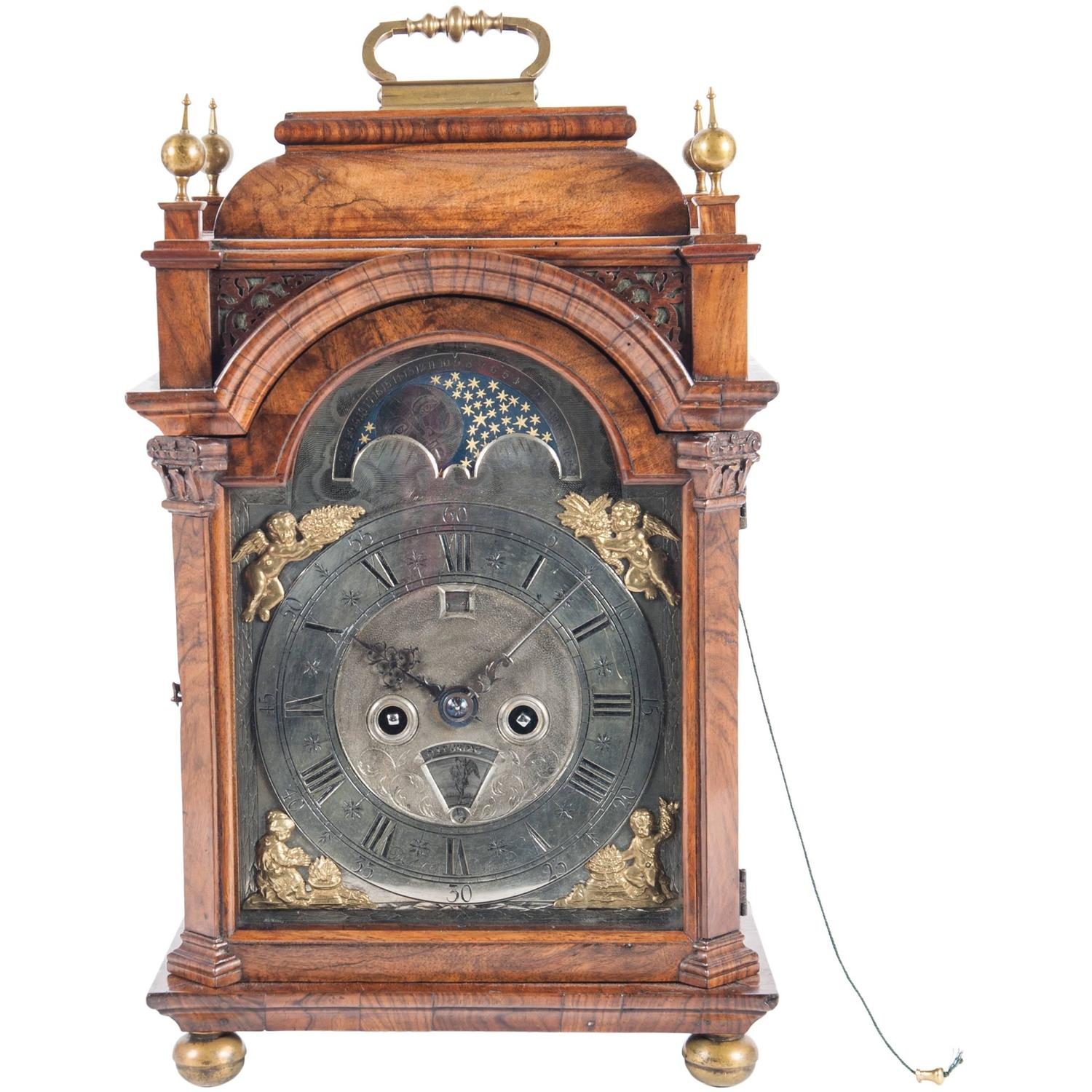 Very small unusual 18th century amsterdam burr walnut Unusual clocks for sale