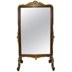 19th Century French Carved Walnut and Gilt Freestanding Cheval Mirror
