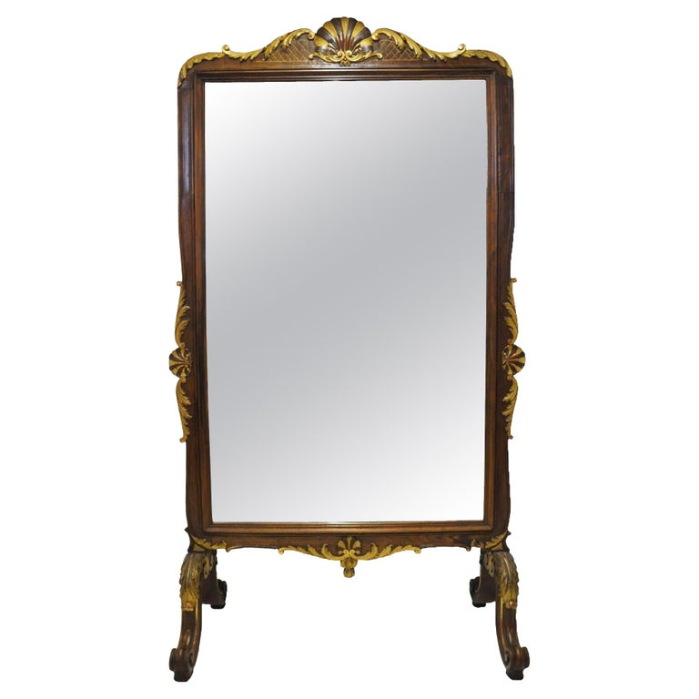 19th Century French Louis XV Carved Walnut and Gilt Free Standing Cheval Mirror For Sale