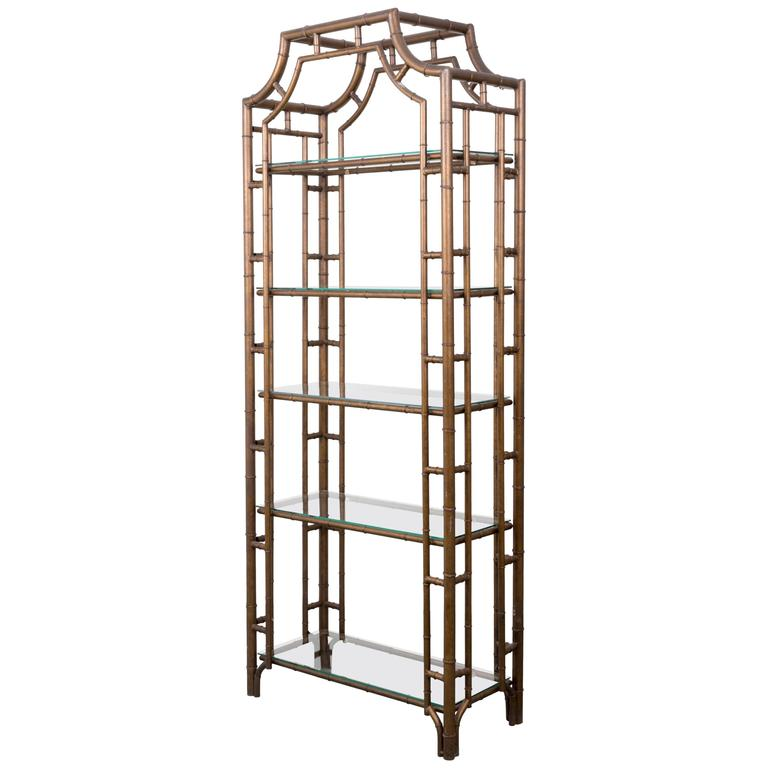 Chinese Chippendale Pagoda Style Faux Bamboo Etagere