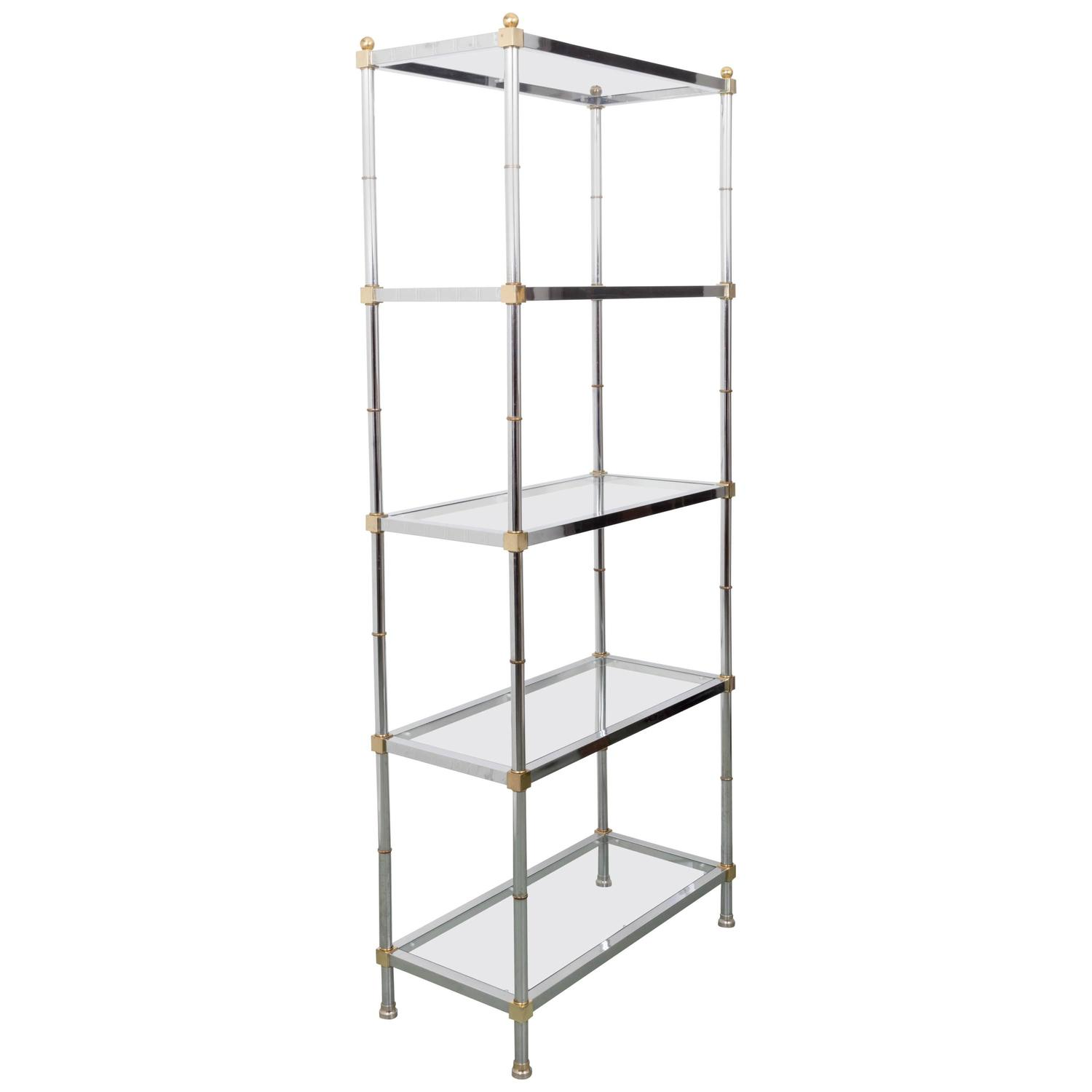 mid century chrome and glass etagere with brass accents for sale at 1stdibs. Black Bedroom Furniture Sets. Home Design Ideas