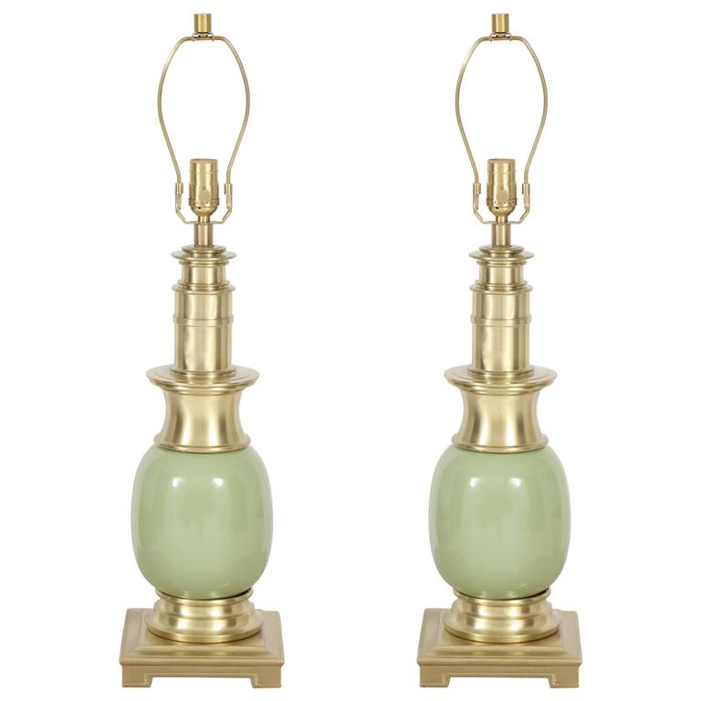 Pair of Celadon Green Ceramic and Brass Lamps by Stiffel 1