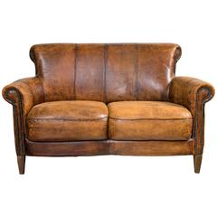 Vintage French Distressed Art Deco Leather Sofa