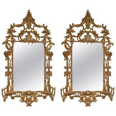 Pair of Italian Gilt Gold Chinese Chippendale Style Wooden Wall Mirrors
