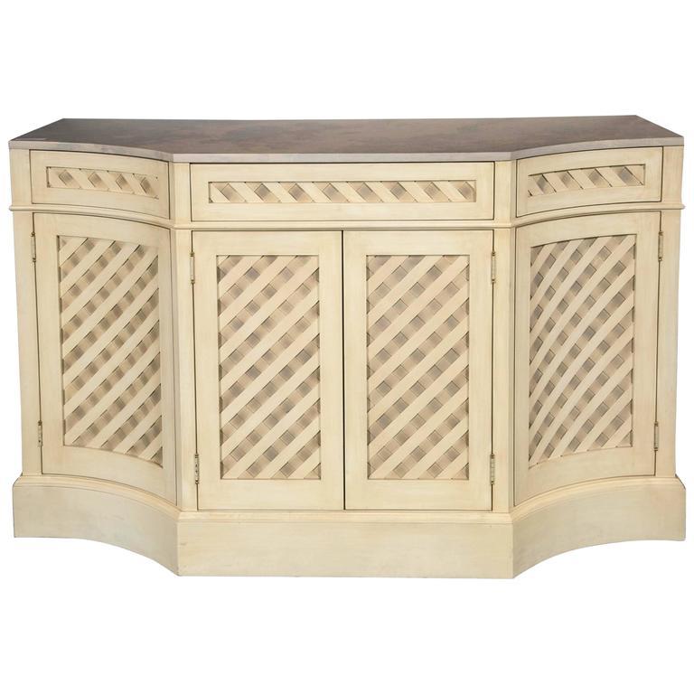 Hollywood Regency Designer Marble-Top Painted Checkerboard Sideboard