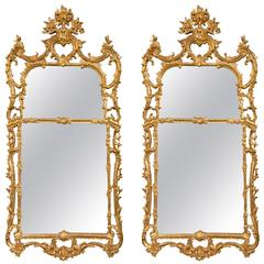 Pair of Chinese Chippendale Style Italian Gilt Wooden Wall Console Mirrors