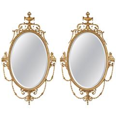 Pair of Giltwood Adams Style Friedman Wall Console Mirrors