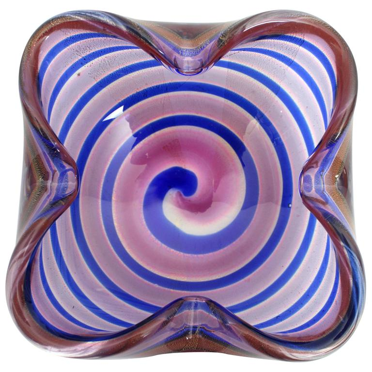 Fratelli Toso Red and Blue Swirls Gold Flecks Murano Glass Bowl, Italy 1950s