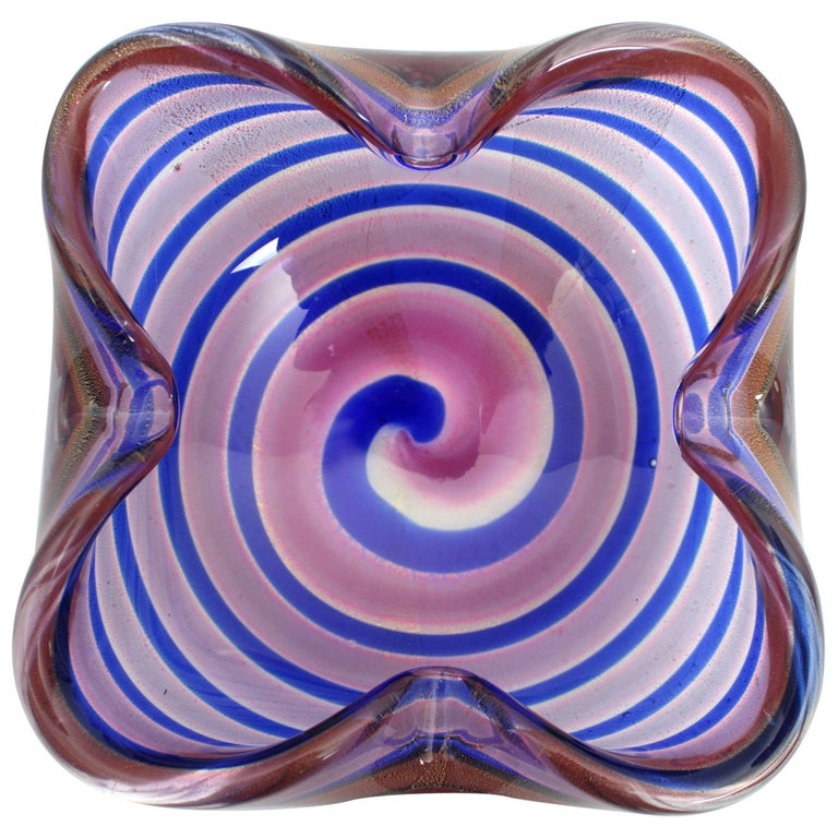Fratelli Toso Red and Blue Swirls Gold Flecks Murano Glass Bowl, Italy 1950s For Sale