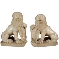 White Marble Lions Sculpture