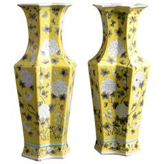 Rare Pair of 19th Century Yellow Glazed Tall Vases
