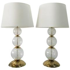Glimmering Pair of Clear Bubbling Murano Glass Lamps