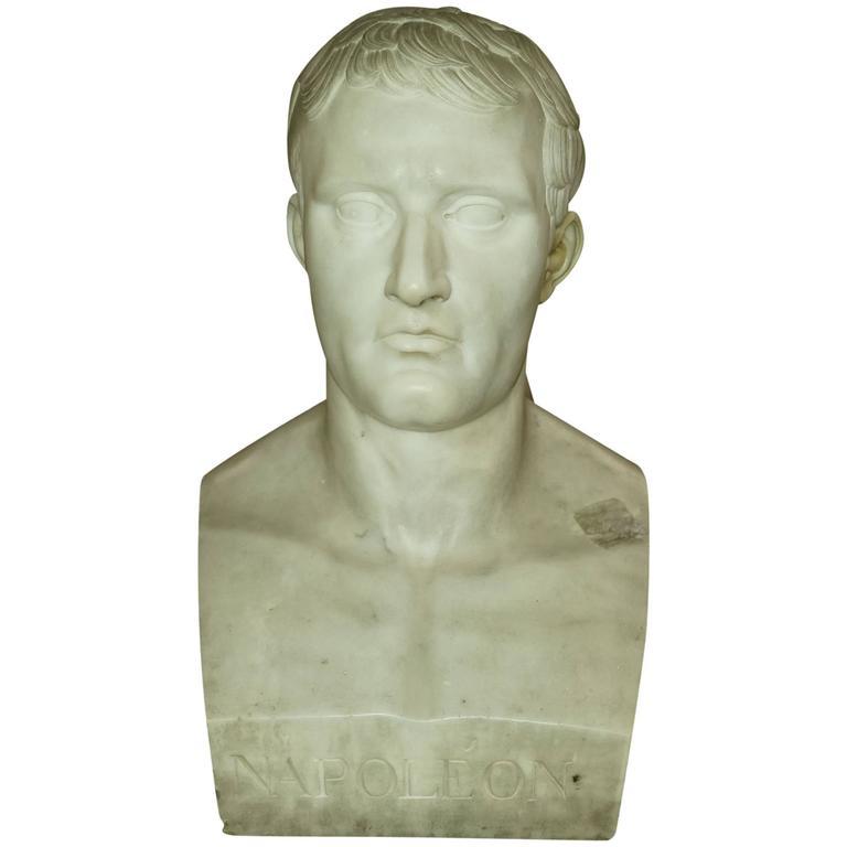Important Lifesize Italian White Marble Bust Of Napoleon