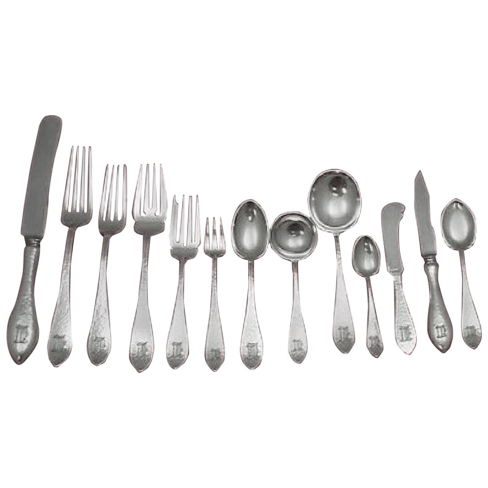 Antique Hammered by Shreve Sterling Silver Flatware Set Service Dinner 158 Pcs