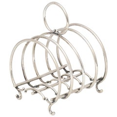 Unusual Victorian Sterling Silver Footed Toast Rack