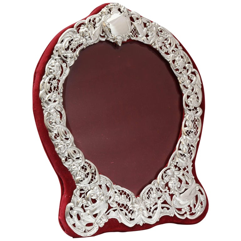 Large Victorian Sterling Silver Heart-Form Picture Frame For Sale
