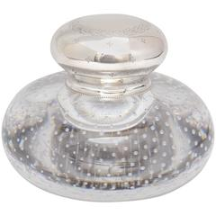 "Victorian Sterling Silver-Mounted ""Controlled Bubbles"" Glass Inkwell"